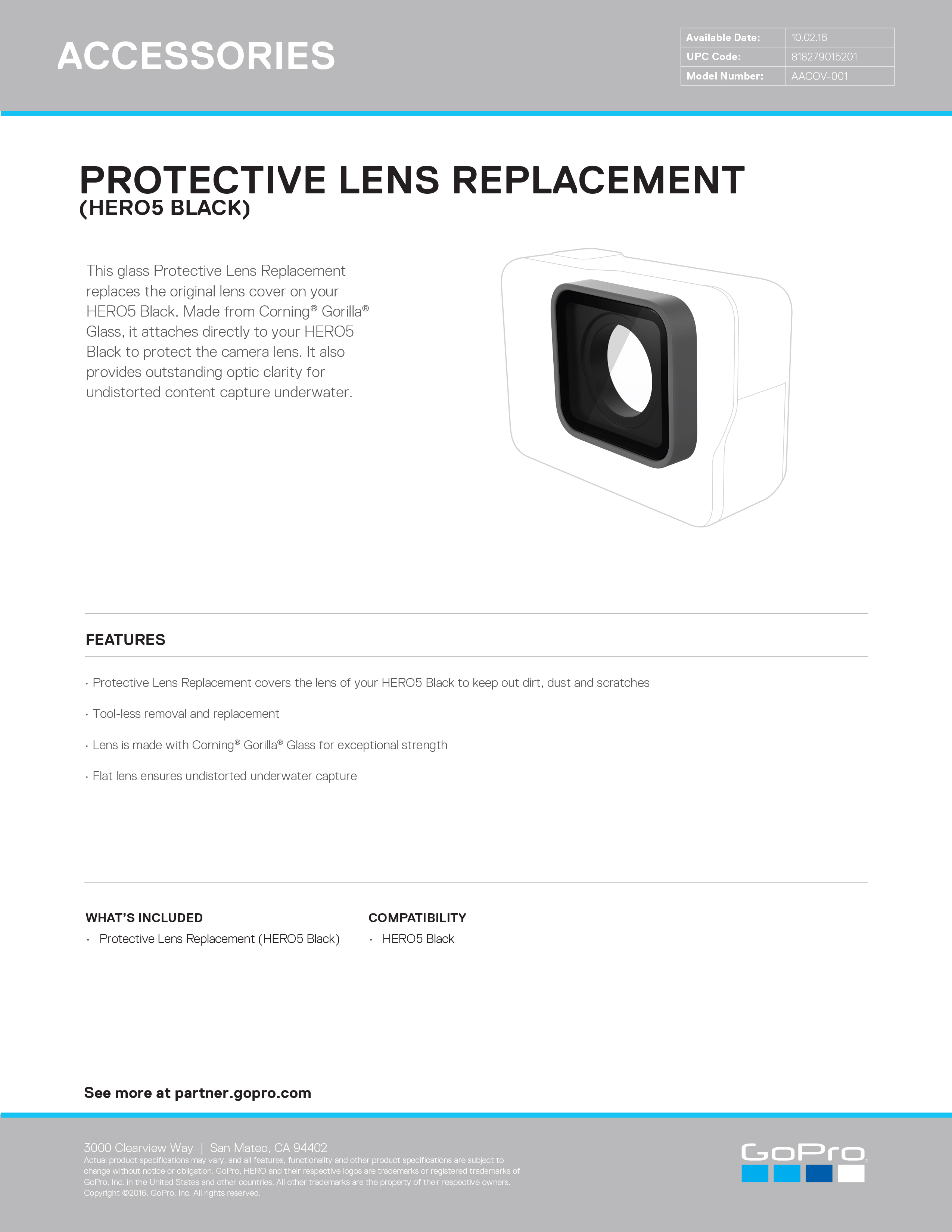 26605119 Protective Lens Replacement HERO5 Black Sell Sheet master