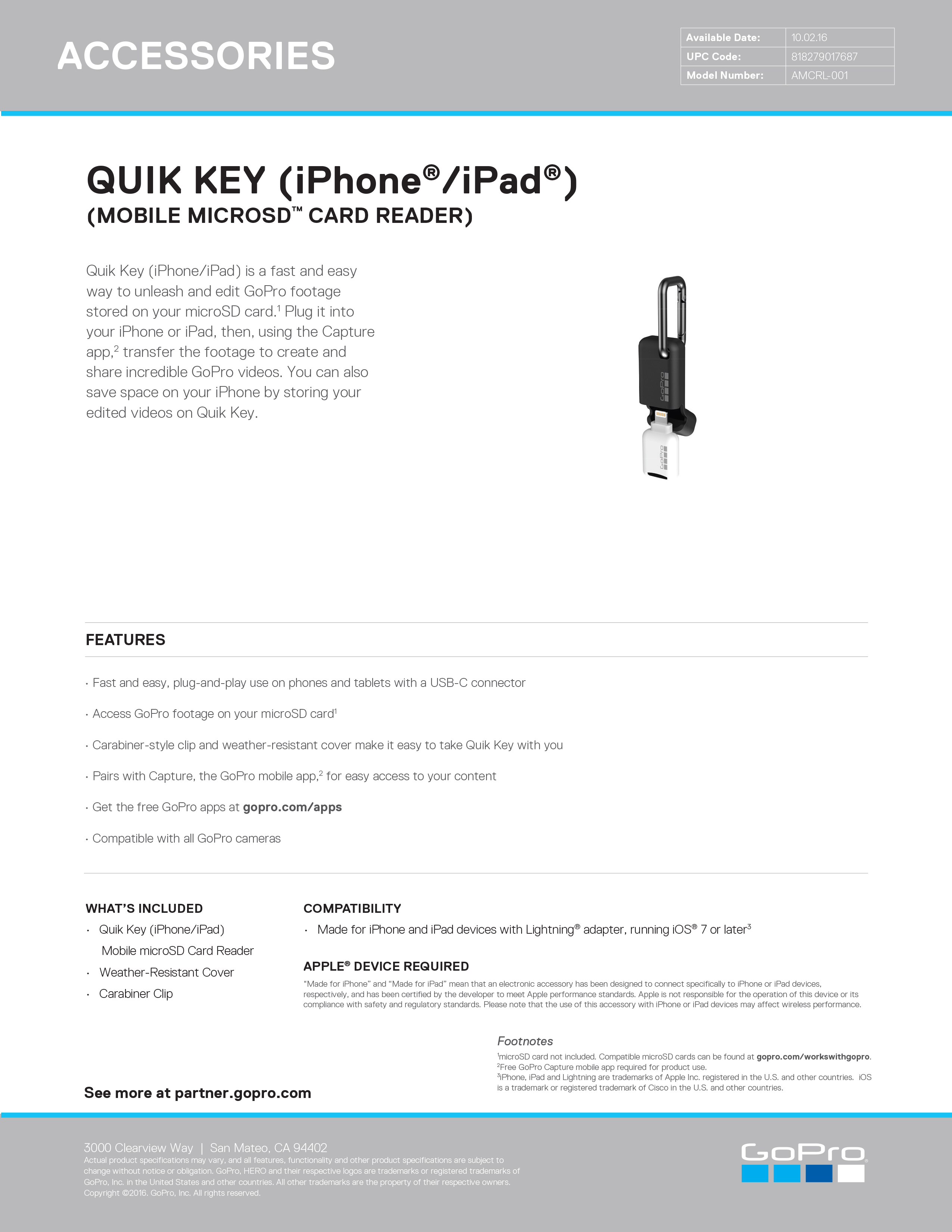 27431252 QUIK KEY iPhone iPad MOBILE MICROSD CARD READER Sell Sheet site